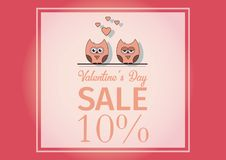 Love Invitation card Valentine`s day , paper cut mini heart, cut owls, loving owls, glare.Frame Sale day. Vector Stock Photo