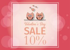 Love Invitation card Valentine`s day , paper cut mini heart, cut owls, loving owls, glare.Frame Sale day. Vector Stock Image