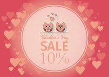 Love Invitation card Valentine`s day , paper cut mini heart, cut owls, loving owls, glare.Frame Sale day. Vector Royalty Free Stock Photo