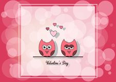 Love Invitation card Valentine`s day , paper cut mini heart, cut owls, loving owls, glare. Vector illustration. stock photography