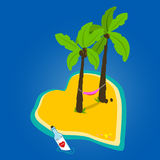 Heart shaped deserted island. A heart shaped beautiful deserted island with palm trees and a hammock and a love message in a bottle stock illustration