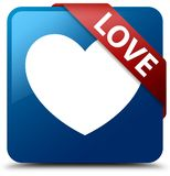 Love blue square button red ribbon in corner Stock Images