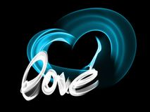 Love isolated word lettering and heart written with fire flame or smoke on black background.  Royalty Free Stock Images