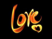 Love isolated word lettering and heart written with fire flame or smoke on black background.  Royalty Free Stock Photo