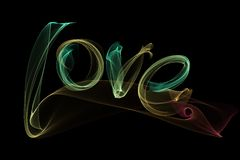 Love isolated word lettering written with fire flame or smoke on black background.  Stock Photo