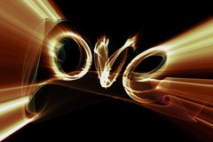 Love isolated word lettering written with fire flame or smoke on black background.  Stock Photos