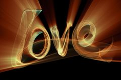 Love isolated word lettering written with fire flame or smoke on black background.  Royalty Free Stock Image