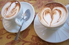 Love in Italy. Two cups with latte art Stock Images