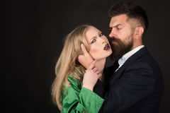 Love is on its way. Bearded man hug woman with long hair. They both love fashion. Couple in love. Intimate couple in stock photography