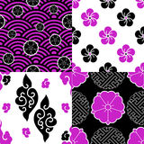 We Love Japan Patterns. Contemporary styled seamless patterns inspired by traditional japanese designs Stock Image