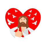 Love of Jesus. Christ and heart. Thumb up. Biblical faith Royalty Free Stock Image