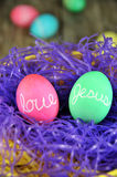 Love Jesus Easter eggs Royalty Free Stock Photo