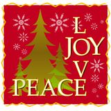 Love Joy Peace Christmas Card With Tree and Snow 2 Stock Photos