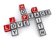 Love, Joy, Peace, Hope, Faith Crossword Royalty Free Stock Photos