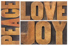 Love, joy and peace. Peace, love and joy typography abstract - a collage of isolated words in letterpress wood type Royalty Free Stock Images