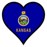 Love Kansas. Kansas state flag within a heart all over a white background Stock Image