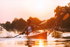 They love kayaking together. Royalty Free Stock Photography