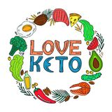 Love Keto - hand drawn inscription. Ketogenic diet round frame in doodle style. Low carb dieting. Paleo nutrition. Love Keto - hand drawn inscription. Ketogenic royalty free illustration