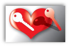 Love key. Illustration of a heart with a pierced key Royalty Free Stock Photo