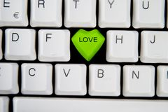 Love Key. Key with the word LOVE on it, on a computer keyboard Royalty Free Stock Image