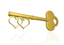 Love key. Key with two heart shape to represent everlasting love Royalty Free Stock Photography