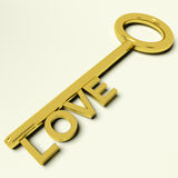 Love Key Representing Adoration And Feelings Stock Images