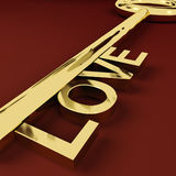 Love Key Representing Adoration And Romance. Love Gold Key Representing Adoration And Romance Stock Photography