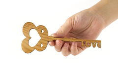 Love key on the white background Royalty Free Stock Photos