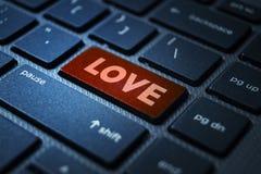 Love keyword on keyboard. Love keyword concept on computer keyboard technology background macro shot stock photo