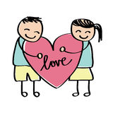 Love kid drawing. Vector illustration of love in kid style drawing Stock Illustration