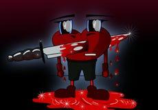 heart cartoon perced by a knife Royalty Free Stock Photos