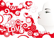 Love kiss. Girl's face on abstract background with hearts Royalty Free Stock Photos