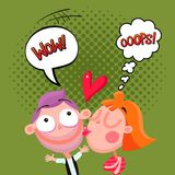 Love Kiss Composition Comic Style Stock Images