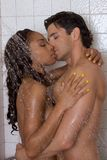 Love kiss couple naked Man and woman in shower Royalty Free Stock Photos