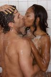 Love kiss couple naked Man and woman in shower Stock Photos