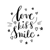 Love Kiss Smile Decorative letters, hearts and stars. Hand drawn lettering inspiration quote. inscription. Font, motivational post. Love Kiss Smile Decorative Stock Photo