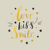 Love Kiss Smile Decorative letters, hearts and stars. Hand drawn lettering inspiration quote. inscription. Font, motivational post. Love Kiss Smile Decorative Stock Photography