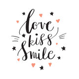 Love Kiss Smile Decorative letters, hearts and stars. Hand drawn lettering inspiration quote. inscription. Font, motivational post. Love Kiss Smile Decorative Royalty Free Stock Images