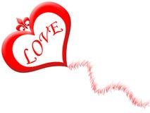 Love kite. Flying heart shaped love kite stock illustration
