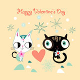 Love kittens. Fun loving kittens on a yellow background with hearts and snowflakes Stock Photos