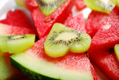 Love kiwi and watermelon Stock Images