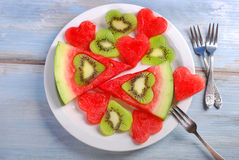 Love kiwi and watermelon Royalty Free Stock Photo