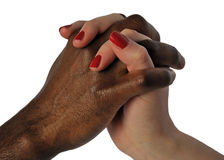 Love knows no difference. Love hand shake between ethnic different couple Stock Photos