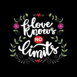 Love knows no limits. Motivational quote stock illustration