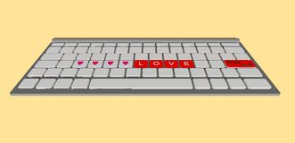 Love label on modern keyboard computer Royalty Free Stock Photography