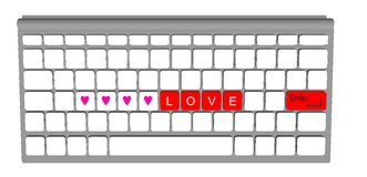 Love label on modern keyboard computer Stock Images