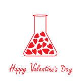 Love laboratory glass with hearts inside. Happy Va Royalty Free Stock Photo