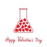 Love laboratory glass with hearts inside. Happy Va Royalty Free Stock Photo