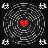 Love labyrinth - couple run to find love Royalty Free Stock Photos