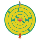 Love labyrinth. Girl and boy are standing at two opposite maze entrances, ready to go find love Royalty Free Stock Image
